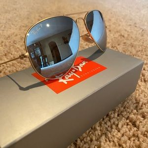 Men's raybans blue and gold